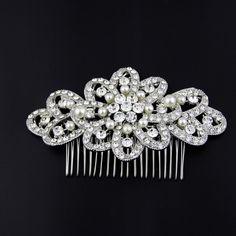 Big Size Bridal Hair Comb Art Deco Wedding Hair Accessories Pearls Silver Bridal Headpiece Hair Pin Luxury