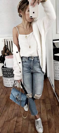trendy outfit cashmere cardi white top ripps jeans bag boots