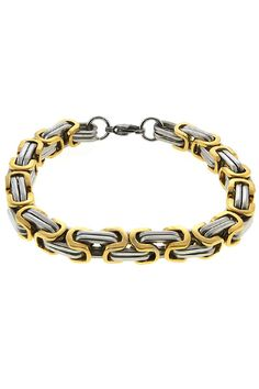 Gemstone King Silver and Gold Chain Bracelet