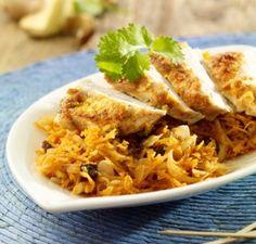 Puten-Curry-Piccata mit orientalischem Möhrensalat Rezept