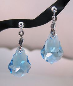 Swarovski Crystals Aquamarine Baroque Earrings by MoYuenCreations, $22.00