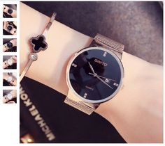 Men's Watches Dropshipping Classy Women Ladies Crystal Roman Numerals Gold Mesh Band Wrist Watch Lady Dress Watch Numerous In Variety