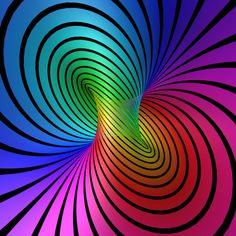 The torus Optical Illusions Rainbow Art, Rainbow Colors, Vibrant Colors, Rainbow Images, Art Optical, Optical Illusions, Fractal Design, Fractal Art, Fractal Images