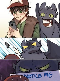 """Care for your buddy"" ... Drawn by kadeart ... How to train your dragon, toothless, hiccup, night fury, dragon, viking, pokemon crossover, pokemon go"