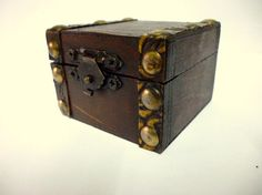 Rustic Vintage Handmade Wooden Trunk, Mini Treasure Chest, Wooden Ring Box, Jewelry Hand Made Coffer, Wooden Ring Box