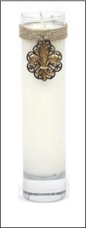 SO Designs & Gifts Fleur de Lis Embellished Glass Cylinder Scented Candle 6.75 oz. 💕SHOP💕 www.crownjewel.design