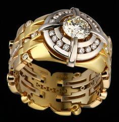 Mens ring - white diamond and yellow gold