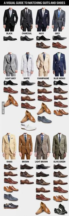 A visual guide to match suits and shoes... Guys u need this help more than any.... Especially the hipster, who taught u how to dress....