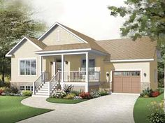 Home Plans HOMEPW08851 - 1,023 Square Feet, 2 Bedroom 1 Bathroom Country Home with 1 Garage Bay