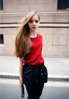 Simple Solid Round Neck Short-sleeve T-shirt Red