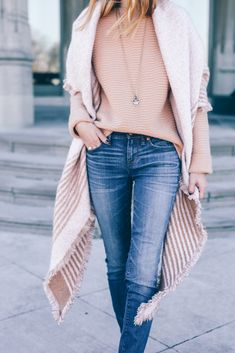 Sweater, Blanket Scarf, Skinny Jeans Prosecco and Plaid