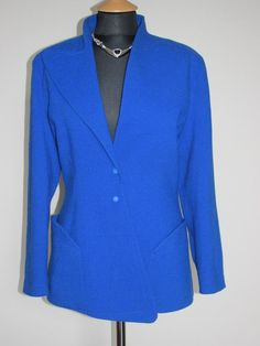 f68e7c0431a sale 80s Thierry Mugler vintage wool electric blue jacket UK 12 size M  couture designer glamourous