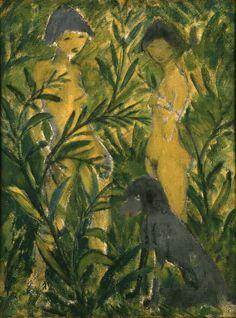 Otto Mueller   Zwei Mädchen mit Pudel - Two Girls with a Poodle   um 1924-25, © Albertina, Wien
