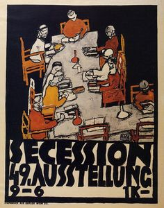 Poster for the Vienna Secession, 49th Exhibition, Die Freunde by @engonschiele #artnouveau