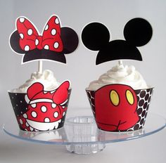 Mickey and Minnie Mouse Party Decorations Cupcake Wrappers and Topper jessmela