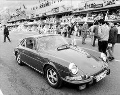 Steve McQueen's Porsche 911 S with Chad McQueen his son at the Le Mans film set
