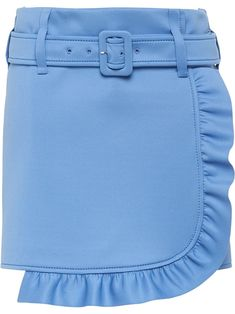 PRADA PRADA BELTED RUFFLE MINI SKIRT - BLUE. #prada #cloth
