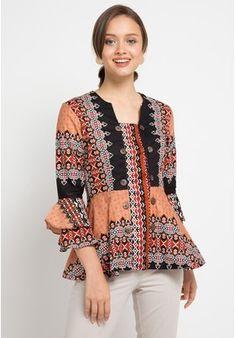 Blouse Batik Motif Tenun from Adikusuma in Blouse Batik, Batik Dress, Batik Fashion, Hijab Fashion, Mode Batik, Batik Kebaya, Kebaya Muslim, Indian Designer Wear, Work Attire