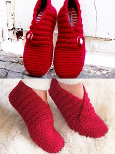 Crochet - One-piece and toe-up—they work up quickly. Model is made using 2-strands of DK-weight yarn. 1-strand of any chunky-weight yarn may be substituted. Sizes are written for adult S: 2–5 ( M: 6–8, L: 9–11). Color photos and symbol crochet are included in the pattern for easy stitching. A link is given in the pattern to purchase an additional Crochet Sole Tutorial if you would like to add a tailored sole. - #RAC1521