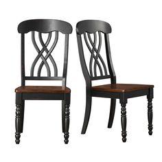 Tribecca Home TRIBECCA HOME Mackenzie Country Black Dining Chair (Set of 2) 1