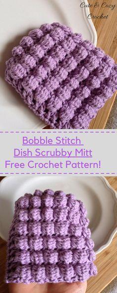 Bobble Stitch Dish Scrubby Mitt | Free Crochet Pattern | Scrubby Pattern | Cotton Yarn
