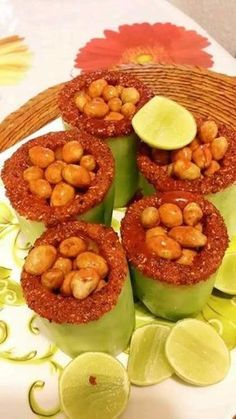 Cucumber cups with peanuts