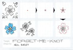 Forget-Me-Knot tangle pattern by Neil Burley, great site for zentangle step outs Tangle Doodle, Tangle Art, Doodles Zentangles, Zen Doodle, Doodle Art, Doodle Designs, Doodle Patterns, Zentangle Patterns, Drawing Letters