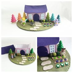 Lavender Cottage Playscape Play Mat - wool felt pretend play - dollhouse storytelling fantasy storybook fairytale - imagination child toy