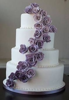 Image result for chocolate wedding cake with white and plum flowers