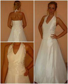 b893318ec5 Tört fehér színű, két részes taft ruha. Kényelmes, hátul fűzős. Eladó!