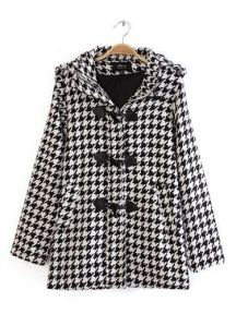 Hooded Horn Button Plover Plaid Coat