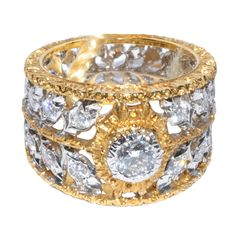 Mario Buccellati Gold and Diamond ring | From a unique collection of vintage band rings at http://www.1stdibs.com/jewelry/rings/band-rings/