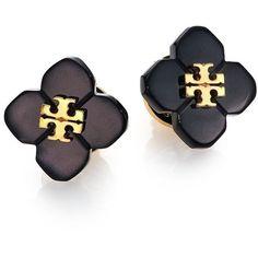 Tory Burch Babylon Stud Earrings ($71) ❤ liked on Polyvore featuring jewelry, earrings, apparel & accessories, logo earrings, flower earrings, gold tone earrings, stud earring set y flower jewelry