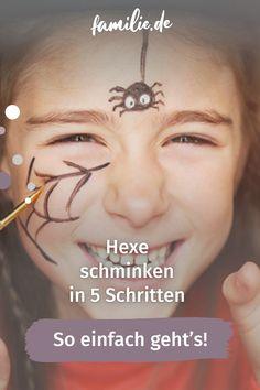 1, 2, 3 und schon hatte Visagistin Sarah Gärtner diese junge Dame in eine freche Hexe verwandelt. Und das könnt ihr auch – mit unserer Schminkanleitung zum Hexe schminken. #hexe #halloween #fasching #schminken #kind #anleitung