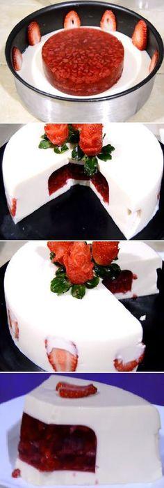 "Gelatina 3 Leches Rellena de fresas y gelatina "" By Rosvi Hernández. #gelatina #crema #gelato #3leches #fresa #frutas #postres #cheesecake #cakes #pan #panfrances #panettone #panes #pantone #pan #recetas #recipe #casero #torta #tartas #pastel #nestlecocina #bizcocho #bizcochuelo #tasty #cocina #chocolate Si te gusta dinos HOLA y dale a Me Gusta MIREN... Jello Desserts, Jello Recipes, Cookie Desserts, Dessert Recipes, Flan Cake, Food Humor, Christmas Desserts, Amazing Cakes, Love Food"
