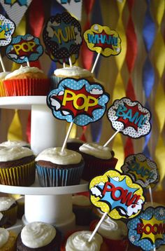 Retro Superhero Cupcake Toppers by printylittlethings on Etsy