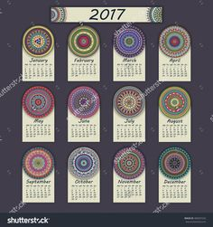 Calendar 2017. Vintage Decorative Colorful Elements. Ornamental Floral Oriental Pattern, Vector Illustration. Islam, Arabic, Indian, Turkish, Pakistan Chinese Ottoman Motifs - 480407242 : Shutterstock