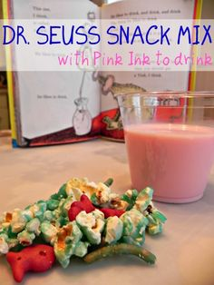 Seuss Snack Mix with Pink Ink to drink! - Mad in Crafts More Dr Seuss Party snack ideas Dr Seuss Snacks, Dr Seuss Day, Dr Suess, Lunch Snacks, Snacks Kids, Kid Lunches, Preschool Snacks, Healthy Lunches, Kids Meals