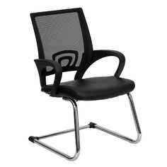 Office Chairs No Wheels Flash Furniture Black Mesh Side Reception Chair with Leather Seat and Sled Base Office Guest Chairs, Office Waiting Room Chairs, Home Office Chairs, Herman Miller, Restaurant Chairs For Sale, Mesh Chair, Office Chair Without Wheels, Conference Chairs, Fine Furniture