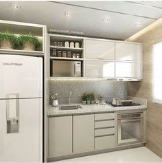 This pin of kitchen design & decor found on Hometalk and around the web. Brought to you by Kitchen Lovers! Mini Kitchen, Kitchen Sets, Kitchen Dining, Kitchen Decor, Kitchen Cabinets, Kitchen Clean, Gray Cabinets, Contemporary Kitchen Design, Interior Design Kitchen