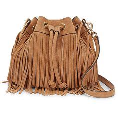 Rebecca Minkoff Suede Fringe Mini Fiona Bucket (€240) ❤ liked on Polyvore featuring bags, handbags, shoulder bags, bolsas, purses, fringe shoulder bag, drawstring handbags, fringe purse, drawstring purse and suede fringe handbag