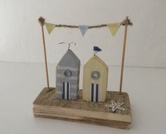 Wooden Beach Huts by upcycleartcreations on Etsy