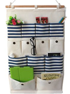 Moolecole Pastoral Style Navy Blue Stripes Cotton/Linen Fabric Wall Hanging Organizer 13-Pockets Door Hanging Storage Bag Hanging Shelves: Amazon.co.uk: Baby Hanging Organizer, Hanging Storage, Hanging Shelves, Sewing Room Storage, Fabric Storage, Bag Storage, Vide Poche, Fabric Gifts, Wall Organization
