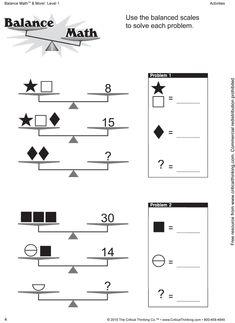 Balance Scale Worksheets For Children Activity Shelter Make ...