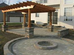 Patio Cover And Cedar Pergola With Stamped Concrete And