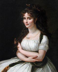 Un autre exemple de flèches d'or dans les cheveux ( et les cheveux tellement! ) , Plus un collier intrigante et un moyen intéressant d' envelopper une ceinture autour des épaules . «Madame Pasteur » par Antoine-Jean Gros , c1795-96