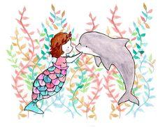 Under the Sea III Mermaid Seaweed Nursery Art Print 8x10
