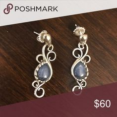 Carolyn Pollack Sterling Silver Drop Earrings Beautiful earrings from QVC. Worn once, but just not my style. The stone is a blue denim color. Please ask if you have any questions! Jewelry Earrings