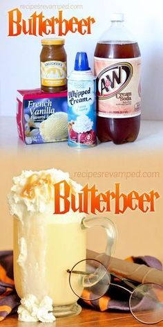 Butterbeer - This very tasty drink is easy to whip up and would be great with a large bowl of buttery popcorn. Your family and tastebuds will thank you! Kid Drinks, Non Alcoholic Drinks, Summer Drinks, Beverages, Party Drinks, Party Snacks, Alcoholic Butterbeer, Frozen Butterbeer, Drink Recipes Nonalcoholic