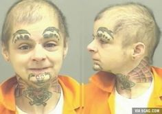 Man baby with dolphins for eyebrows